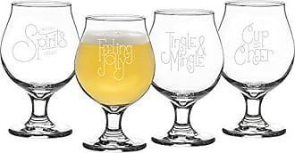Cathy's Concepts Lets Jingle Belgian Beer Glasses, Clear