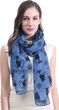 Lina & Lily Cat Kitten Print Womens Large Scarf Lightweight (Blue)(Size: One Size)
