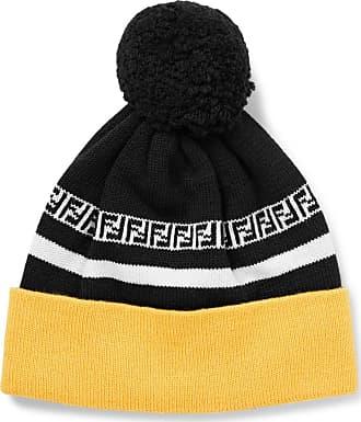 Fendi Logo-intarsia Ribbed Virgin Wool Beanie - Black