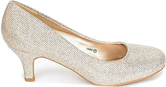 Dream Pairs Womens Slip On Low Kitten Heels Round Toe Pump Court Shoes Luvly Gold Size 7 US/ 5 UK