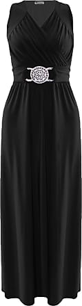 ZEE FASHION Womens Cocktail Sleeveless Buckle Maxi Ladies Wrapover Evening Dress Plus Size UK 8-24 Black