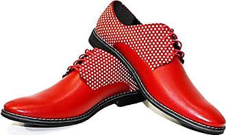 04f09f36340349 PeppeShoes Modello Creppo - 44 - Handgemachtes Italienisch Bunte  Herrenschuhe Lederschuhe Herren Rot Oxfords Abendschuhe Schnürhalbschuhe