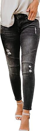 junkai Womens Stretch Denim Ripped Butt Lifting Jeans Skinny Denim Distressed Ripped Boyfriend Jeans Skinny Trousers Black XL