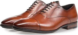 Floris Van Bommel Dunkel cognacfarbener Kalbsleder-Schnürschuh, Business Schuhe, Handgefertigt