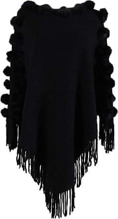 Hellomiko Womens Knitted Poncho Winter Cape Jumper Cozy Warm Poncho Sweater Elegant Shawl Wrap Cute Pompoms
