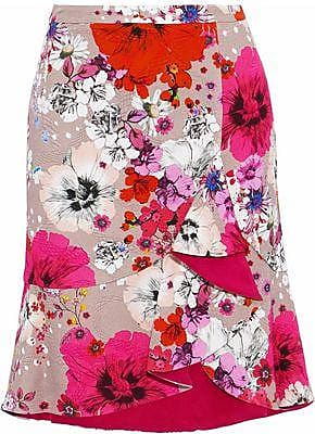 Roberto Cavalli Roberto Cavalli Woman Ruffled Floral-print Cotton-blend Cloqué Mini Skirt Antique Rose Size 38