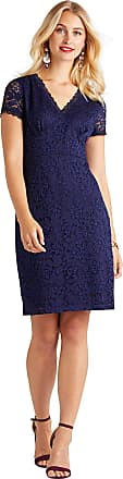 Yumi Fitted Lace Dress with Back Detail Navy