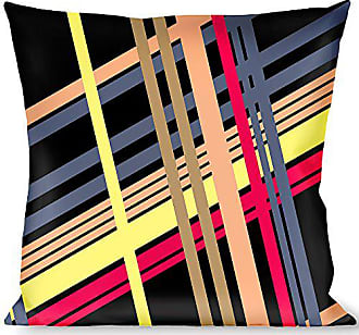 Buckle Down Pillow Decorative Throw Plaid Black Yellow Red Blue Orange