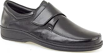Roamers Mens Black Super Soft Leather Lightweight Fulfit Touch Fastening Casual Shoe - Black - size UK Mens Size 12