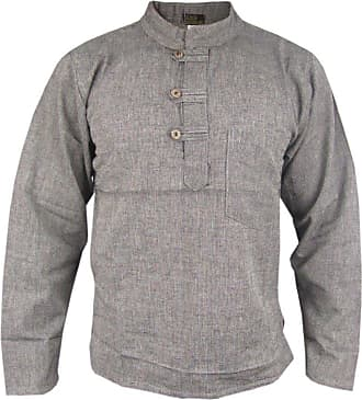 Gheri Mens Plain Cotton Hemp Grandad Collarless Pocket Kurtas Shirts Light Grey XXX-Large
