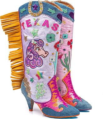 Irregular Choice Texas Heeled Womens Long Boot with Fringing (6 UK, Blue Multi (Blue Multi A))
