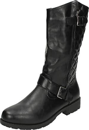 Spot On Ladies Spot On Calf High Biker Style Boots F50311 Black Size 6