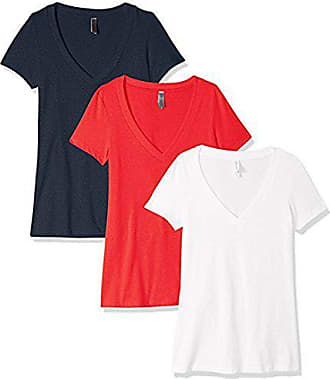 Pack of Two White//Military Clementine Apparel Womens Petite Plus Deep V-Neck T-Shirt Large