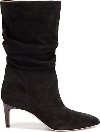 PARIS TEXAS Crocodile-effect Heel Suede Boots - Womens - Black