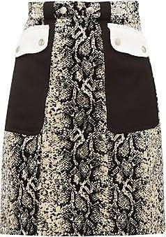 Giambattista Valli Patch-pocket Snakeskin-print Velvet Mini Skirt - Womens - Beige Multi