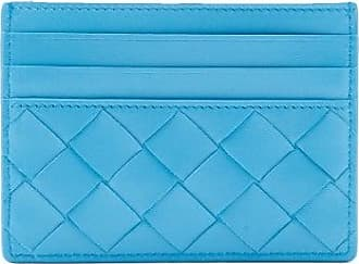 Bottega Veneta Intrecciato Leather Cardholder - Womens - Blue