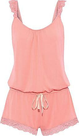 Eberjey Eberjey Woman Delfina The Enchanted Lace-trimmed Stretch-modal Playsuit Coral Size L