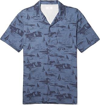 Onia Vacation Camp-collar Printed Woven Shirt - Navy