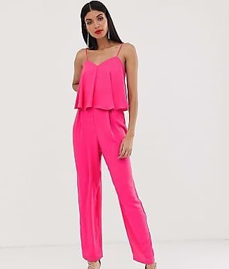 Asos Tall ASOS DESIGN Tall double layer cami peg jumpsuit-Pink