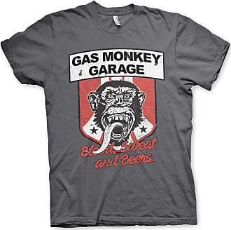 Gas Monkey Garage Officially Licensed Stripes Shield T-Shirt (Dark Grey), XXL