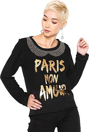 Queens Paris Moletom Fechado Queens Paris Bordado Preto
