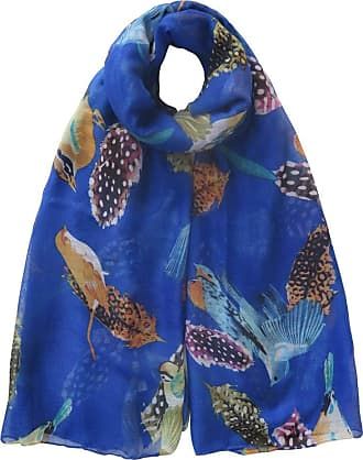 Lina & Lily Birds and Feather Print Womens Large Scarf Lightweight, 180 X 100 cm, Blue
