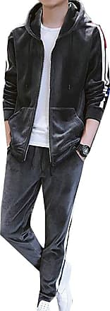 H&E Mens Active Hooded Jacket Sweatpants Velour 2 Piece Tracksuit Dark Grey Large