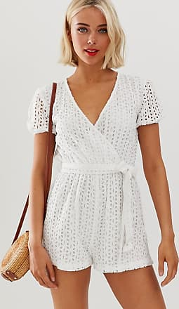 Influence Broderie anglais playsuit-Wit