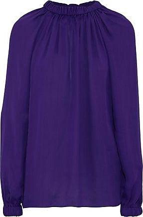 Tibi Tibi Woman Gathered Crepe De Chine Blouse Purple Size XS