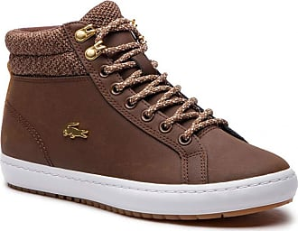 4f6efbb01 Lacoste Womens 7-36CAW0045B18 Hi-Top Trainers Brown Size  7