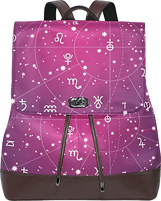 Ahomy Ladies Fashion PU Leather Backpack XII Constellations Zodiac Planet Anti-Theft Rucksack Shoulder Bag