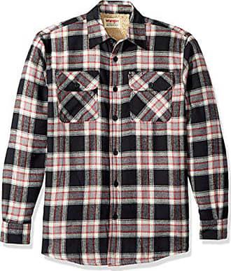 Wrangler Authentics Mens Long Sleeve Sherpa Lined Shirt Jacket, Caviar, 2XL
