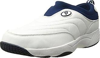 Propét Propet Mens Wash N Wear Slip On Suede Walking Shoe, sr White Navy, 8.5 3E US