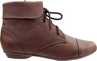 Arzon Ankle Boot Couro Legitimo com Cadarço Chocolate - Chocolate - 36