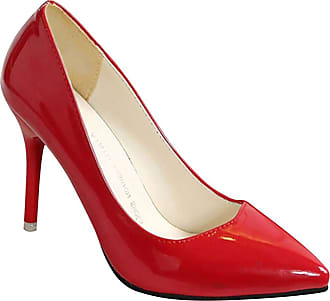 Daytwork Womens Patent Leather Stiletto - Pointed Toe Pumps High Heel Court Work Formal Simple Fashion Dress Party Shoes Red