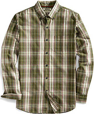 Goodthreads Mens Slim-Fit Long-Sleeve Plaid Slub Shirt, Green Depths, Medium