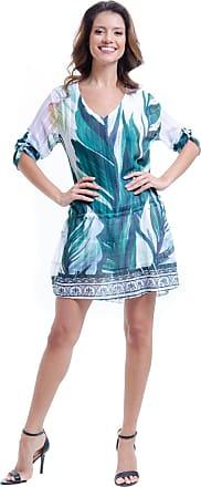 101 Resort Wear Vestido 101 Resort Wear Mangas 3/4 Saia Evase com Babados Crepe Estampado Folhas Verde