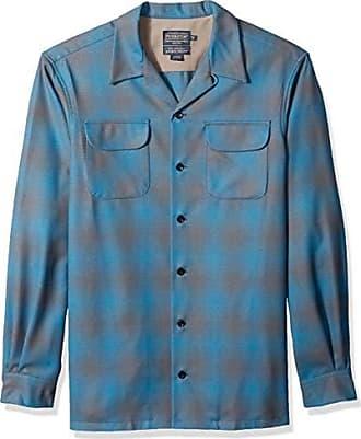Pendleton Mens Tall Size Big & Tall Long Sleeve Board Shirt, Blue/Grey Shadowplaid, MD