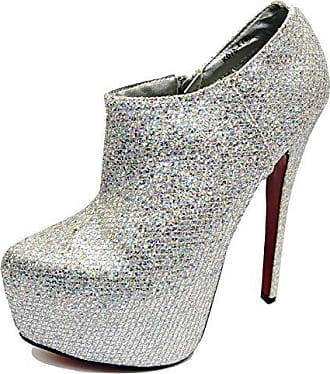 Generic Damen Silber Plateau High-Heels Chelsea Knöchel Reißverschluss  Stiefel Abendschuhe Größen 3-7 d3676a4477