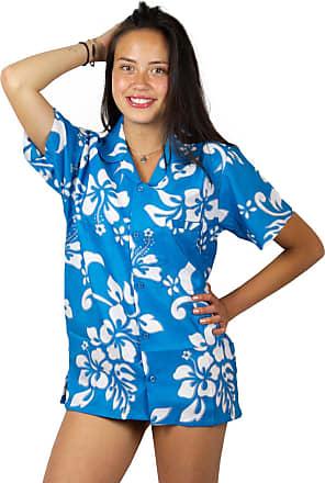V.H.O. Funky Hawaiian Shirt Blouse, Shortsleeve, Hibiscus, Turquoise, 4XL