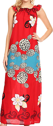 Sakkas 18209 - Abby Womens Casual Long Tropical Off Shoulder Dress Elastic & Floral Print - Red - XL