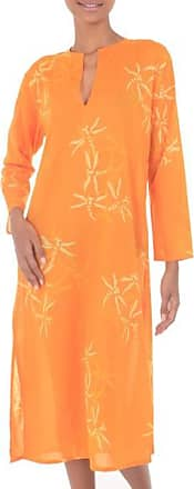 Novica Cotton caftan, Orange Dragonfly Mysteries - Womens Batik Cotton Caftan