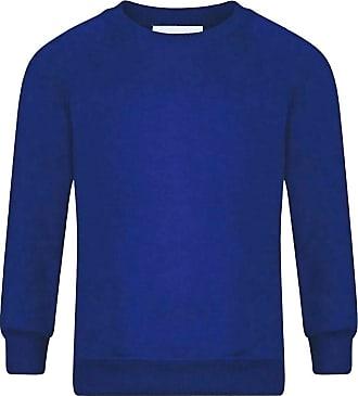 21Fashion Adults Kids Crew Neck Plain Sweatshirt Girls Boys School Office Wear Jumper Top Royal Blue X Large