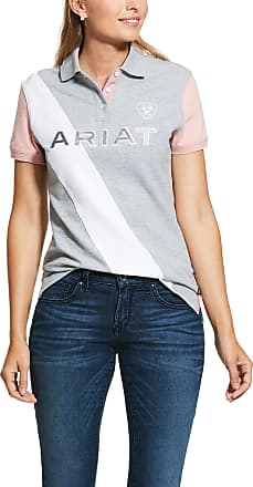 Ariat Womens Taryn Polo Shirt in Heather Gray/Bridal Rose, Size X-Small, by Ariat