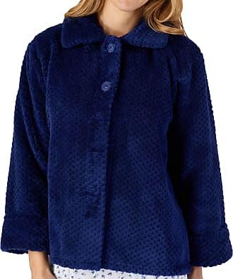 Slenderella Ladies Soft Waffle Fleece Bed Jacket Button Up Collar House Coat Medium (Navy)
