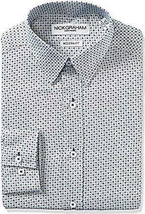 Nick Graham Everywhere Mens Connecting Dots Print Dress Shirt, Navy, 14-14.5 Neck 32-33 Sleeve