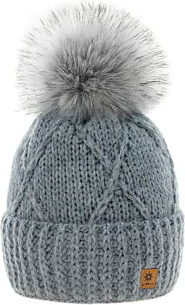 4sold Womens Ladies Beanie Hat Pom Pom Warm Winter Natural Wool Mohair Lining Full Cosy Fleece Liner (Birma Grey)
