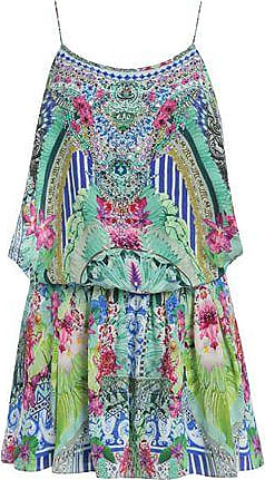 1da2145d598 Camilla Camilla Woman Animal Instinct Belted Embellished Printed Silk  Playsuit Blue Size XS
