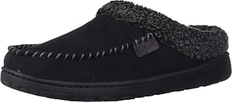 Dearfoams Mens Microfiber Suede Clog with Whipstitch Slipper, Black, S
