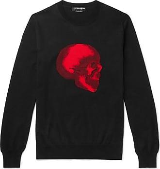Alexander McQueen Slim-fit Skull-intarsia Cotton Sweater - Black